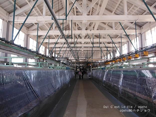 300人が入れる140mの繰糸工場。(富岡製糸場 世界遺産)
