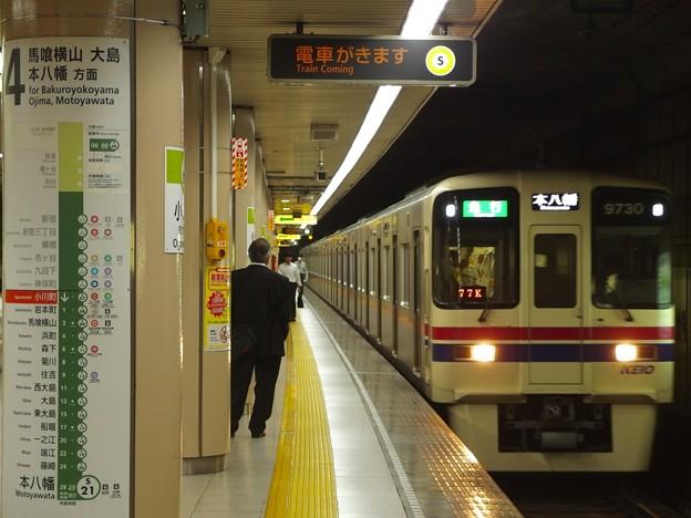都営新宿線小川町駅4番線 京王9030急行本八幡行き通過