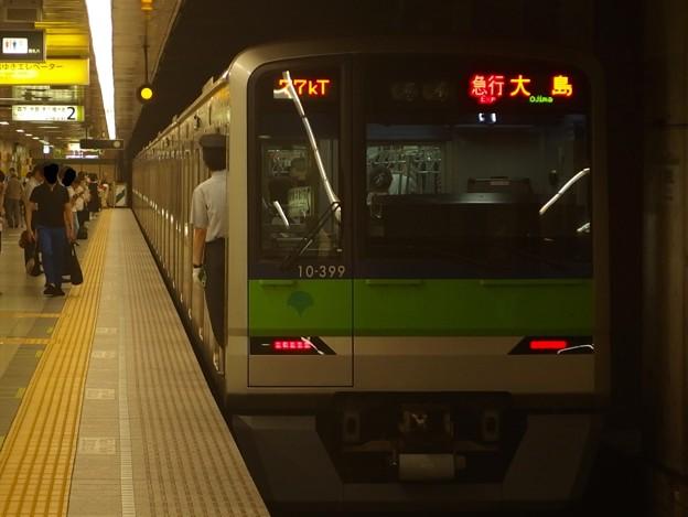 都営新宿線馬喰横山駅2番線 都営10-390F急行大島行き前方確認