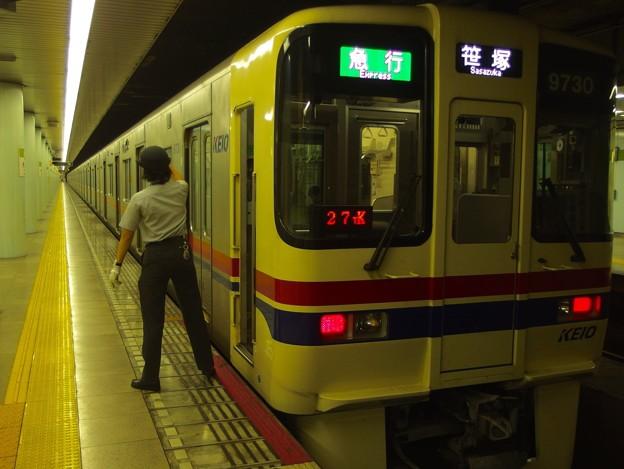 都営新宿線市ヶ谷駅1番線 京王9730F急行笹塚行き側面よし