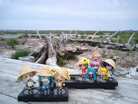 トドワラの木道の終点で、記念撮影パチリと☆ レン:「トドワラの先...