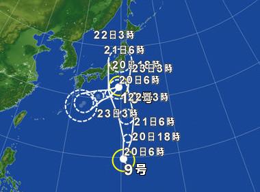 20160821台風予報(大田原市)