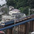 Photos: 小田原工臨返空を石橋山橋梁俯瞰で撮影