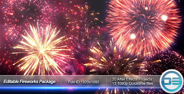 AE模板:新年片头烟花礼花节日粒子模板Fireworks Package