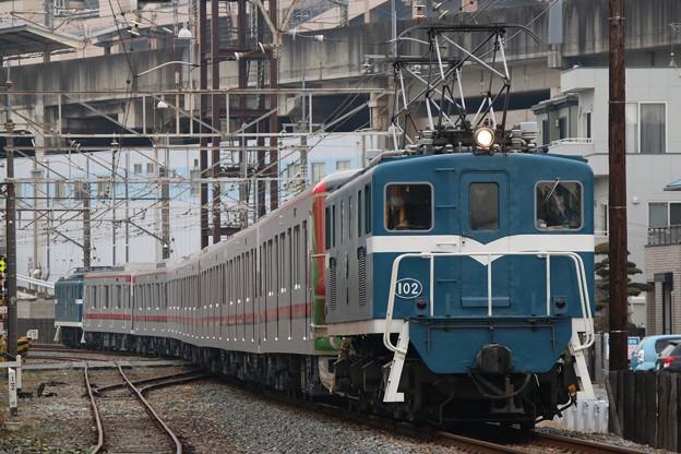 秩父鉄道デキ102+東武70000系 71703F+デキ503 甲種輸送