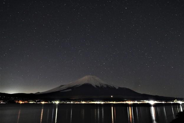 写真: 霊峰と星空