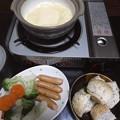 写真: 土鍋でチーズフォンデュ