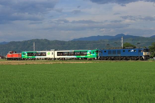 Photos: 9372レ EF64 1053+キハ48系仙ココ「びゅうコースター風っこ」編成 2両+DD16 11
