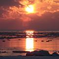 写真: 流氷と夕日