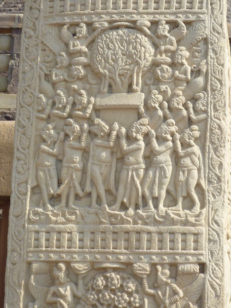 菩提樹の浮彫~仏教彫刻Symbol of Buddha :Bo-Tree relief