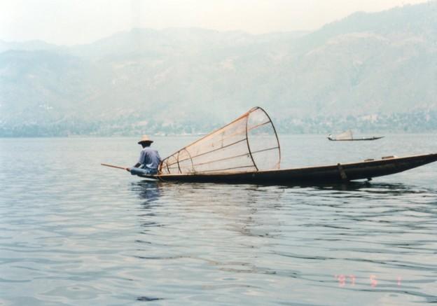 インレー湖の伏せ網漁、ミャンマー  Cone-shaped nets for fishing *笹舟のごとき小舟に胡座かき伏せ網を打つときは待つべし