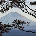 やっと富士山。少しだけ夕陽