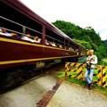 写真: トロッコ列車を見送って