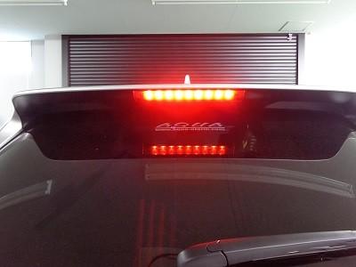 ハリアー60系 ハイマウントストップランプ スモークフィルム貼り込み後 ブレーキ点灯時