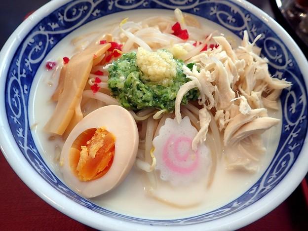冷し豆乳ラーメン・大盛り@三ツ山製麺工場ラーメン事業部・福島市