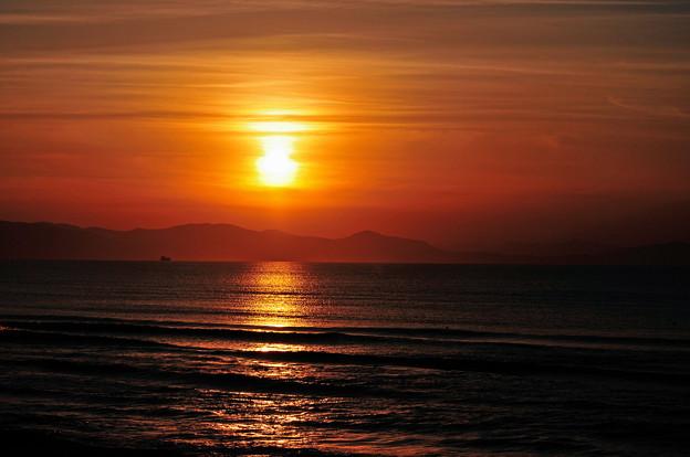 石狩湾の夕陽