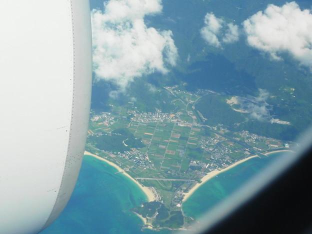 写真: 機内から見た風景@沖縄