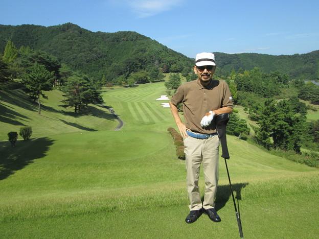 足利城ゴルフ倶楽部9番ロングホールのK氏2014.9.23