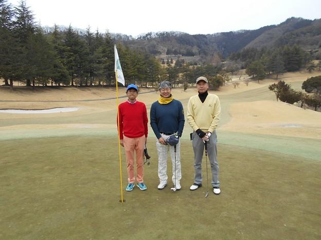 足利城ゴルフ倶楽部1番ホールの親さん・ポカリマン・幹事