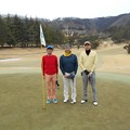 Photos: 足利城ゴルフ倶楽部1番ホールの親さん・ポカリマン・幹事