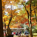 茶店前の紅葉とにぎわい in 大本山仏通寺