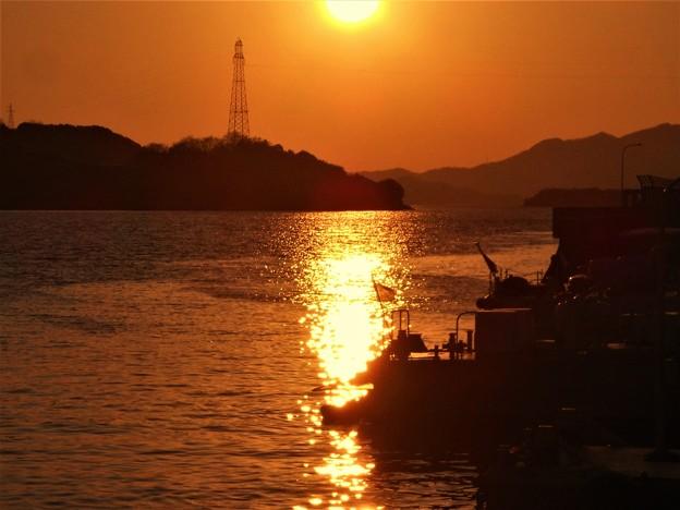 元日の瀬戸の夕陽 in 海上保安部2017.1.1