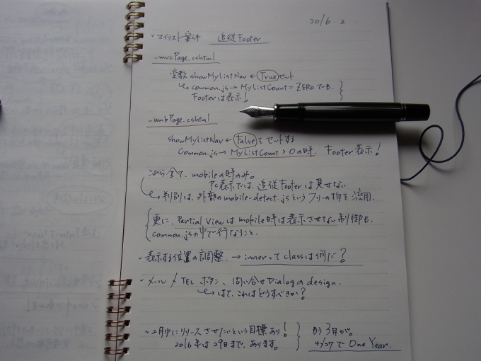 仕事ノートにペリカン M805 黒縞で汚文字