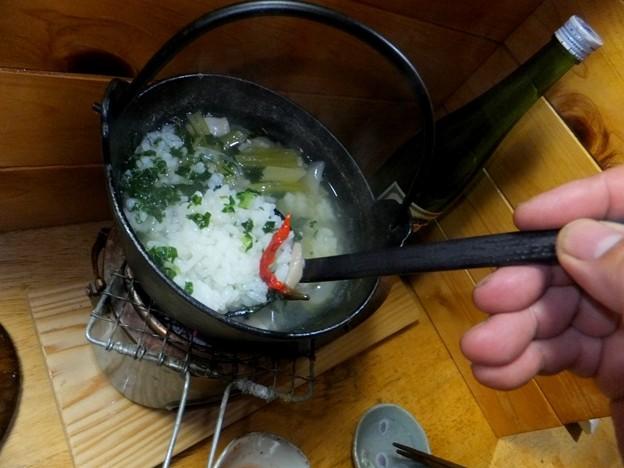 仕上げは「ふぐ雑炊」