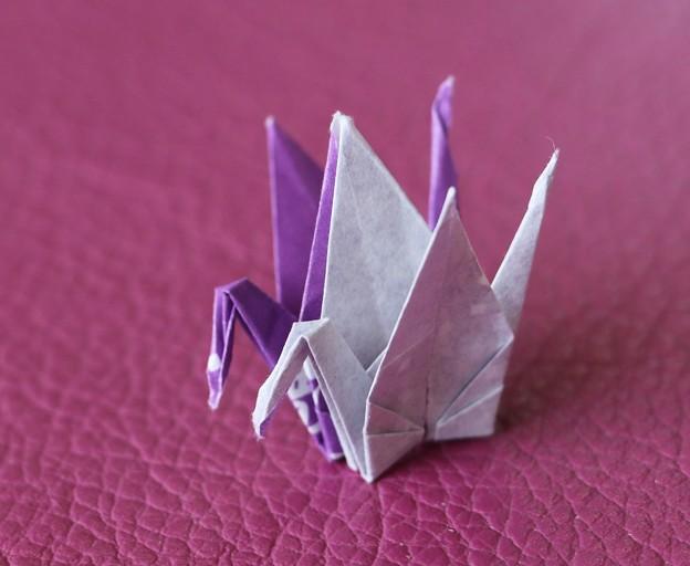 昼に居合わせたお客さん折鶴を箸袋で作る