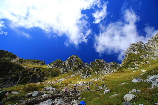 青空と白い雲と宝剣岳