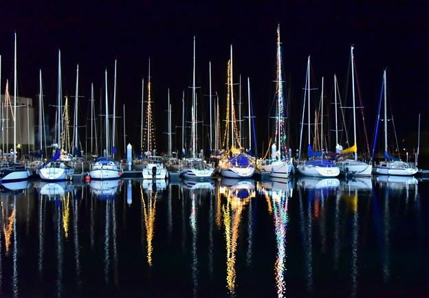 夜のヨットハーバー