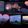卯辰山から 夕陽と花火