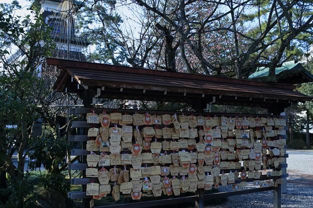 尾山神社 絵馬と梅