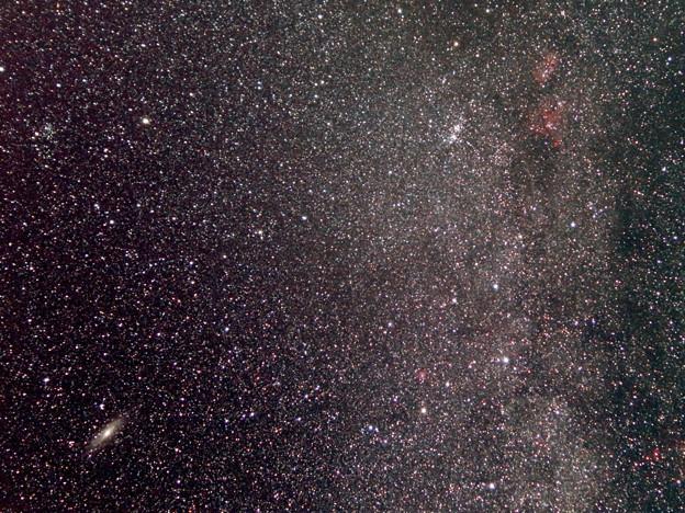 写真: ペルセウス座二重星団とアンドロメダ銀河