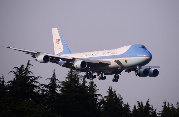 撮って出し。。横田に来たオバマ大統領乗せたエアフォースワン飛来。。5月22日