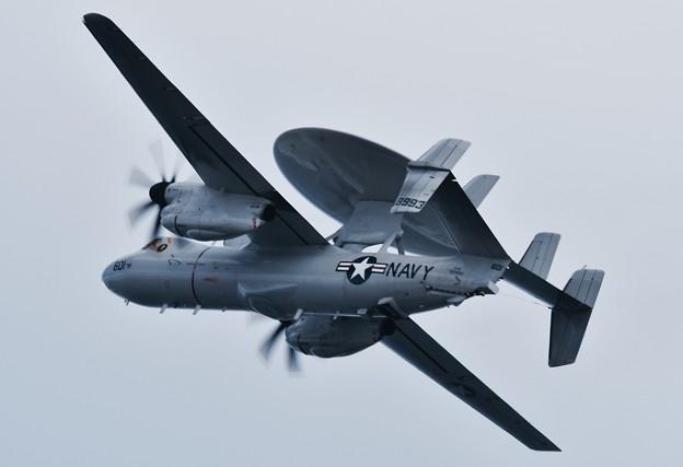岩国遠征2日目。。配備されて初飛行VAW-125タイガーテイルズ E-2Dアドバイスホークアイ 違いわかる?(^^)20170209