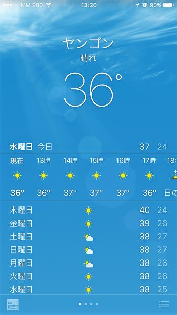 写真: 予報気温が40度