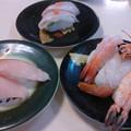 Photos: 昼食 回転寿司 (ヒラメ・ぶり&エビ)です