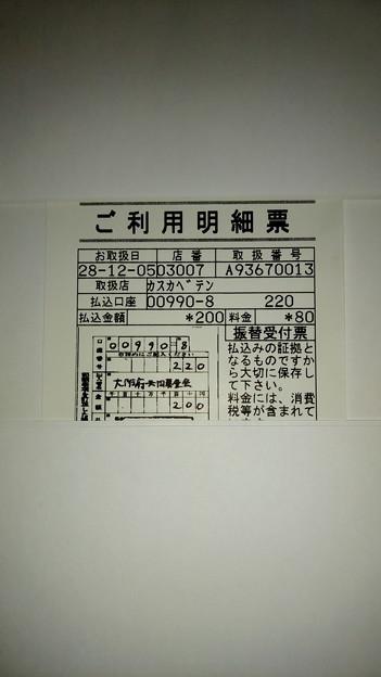 Photos: 大阪府共同募金会に寄付した明細書