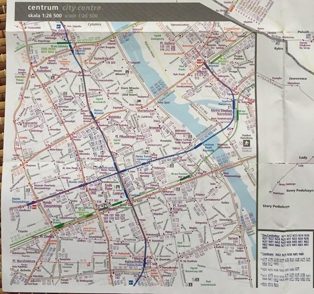 ワルシャワ市内路線図