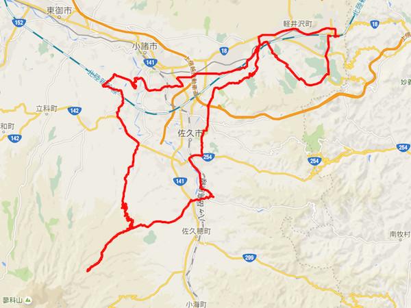 軽井沢Mtg2016コマ地図ラリー約116kmのコース
