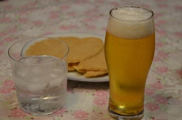 帰宅後には早速できさんのグラスで家内と乾杯