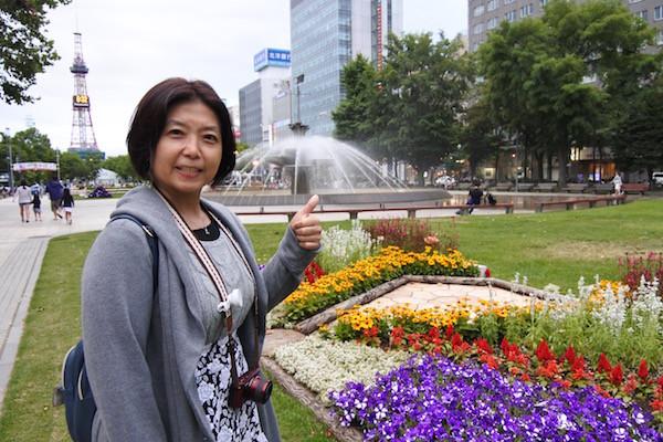 市内中心部を散歩、大通公園と札幌テレビ塔