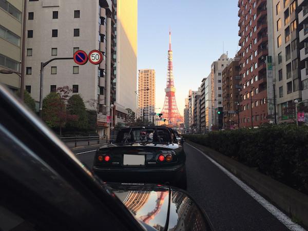 快晴の朝日に東京タワーが輝く