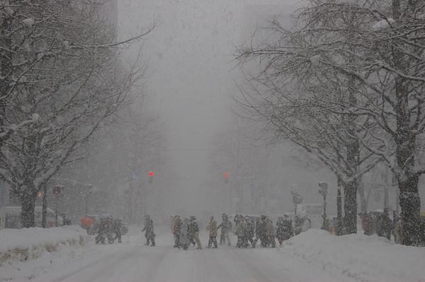 2008年の雪まつりの日の札幌市内の様子