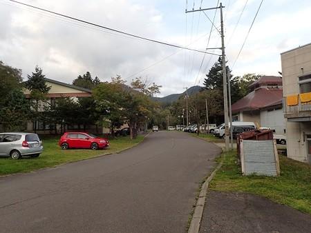 北海道 カルルス温泉の町並みとオロフレ荘
