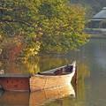 写真: 夕陽の小舟